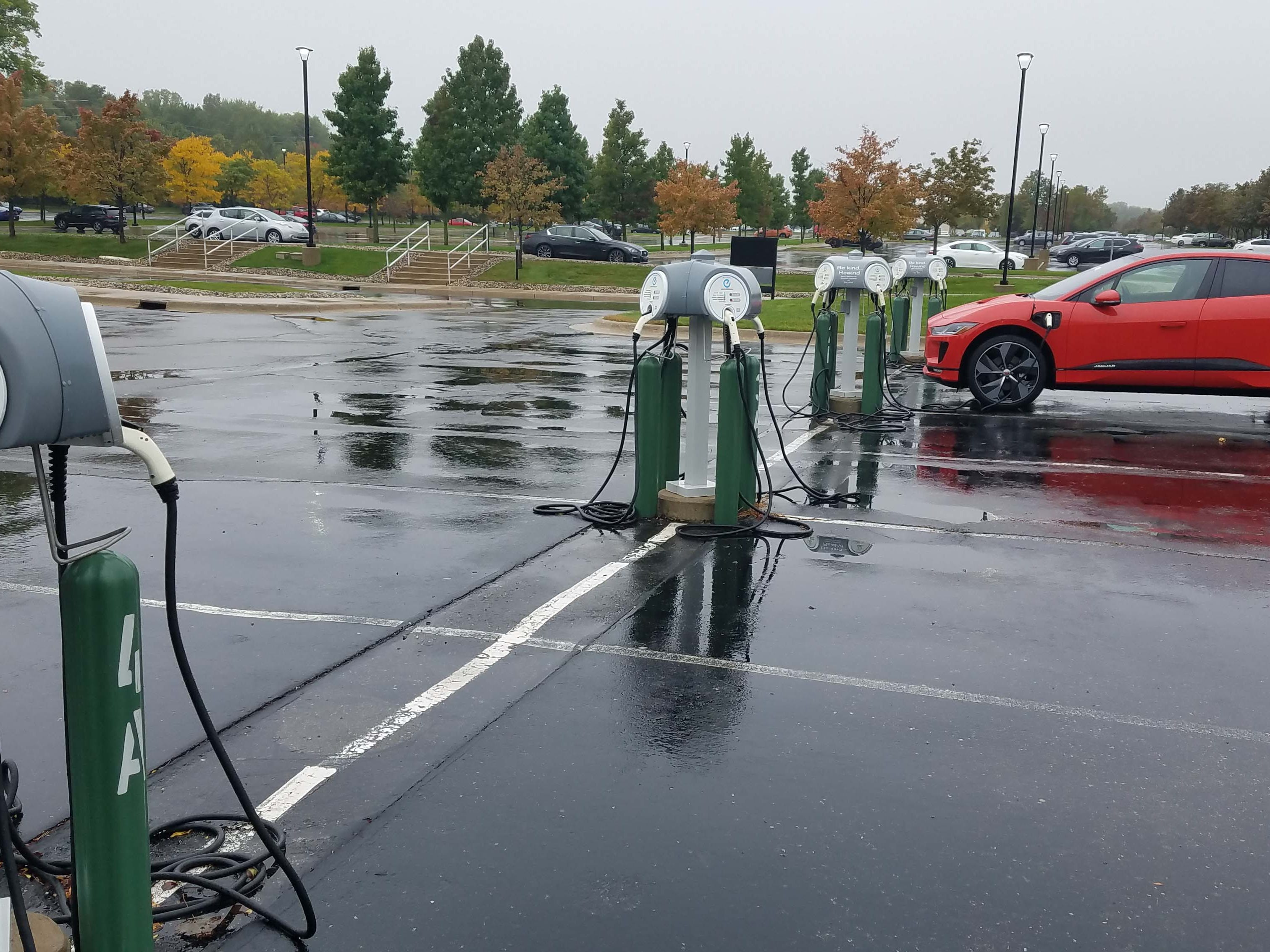 The Nissan tech center's 240-volt chargers are empty Saturday morning - but jammed during the week by employees charging their cars.