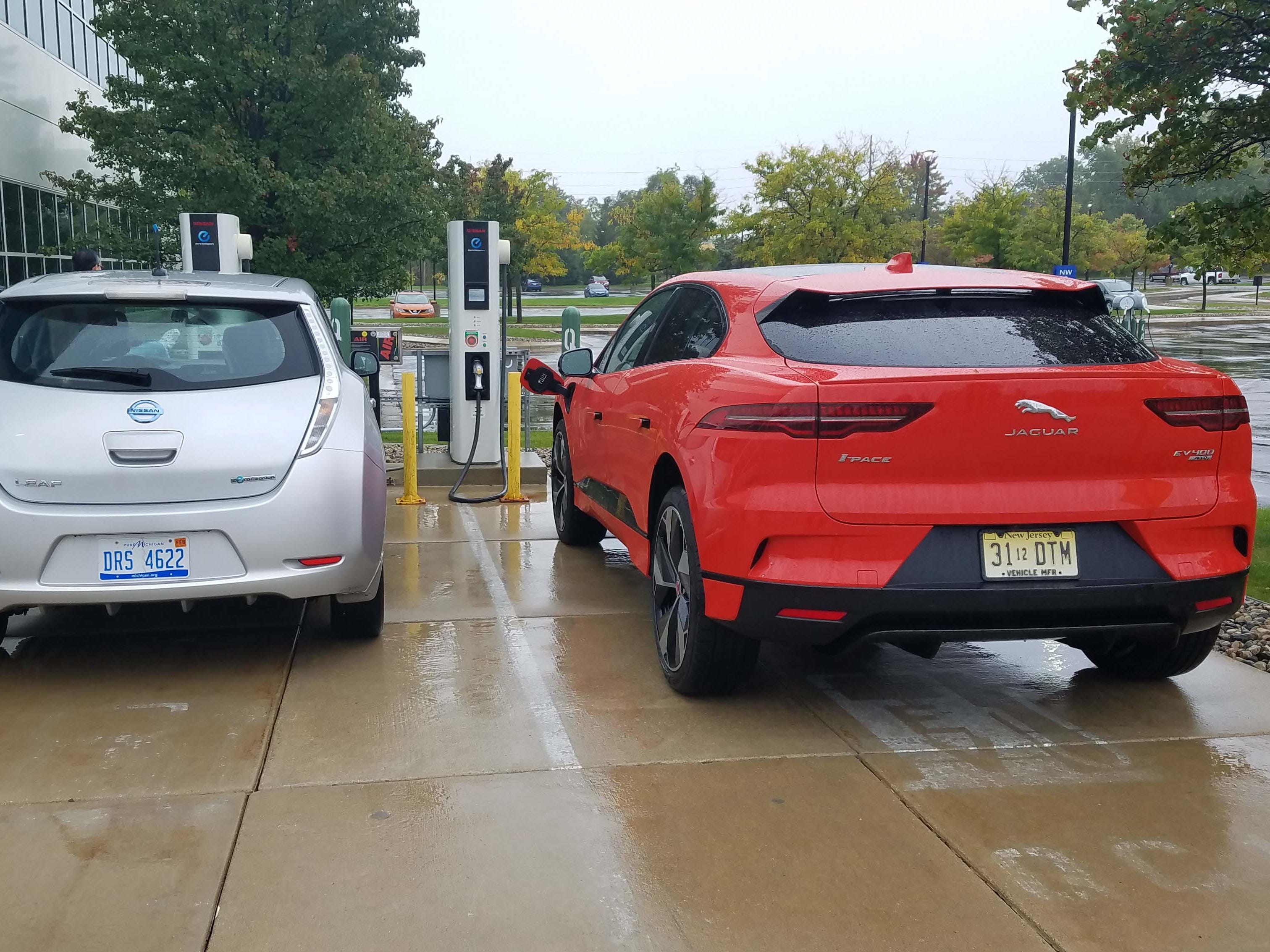 Not all fast chargers are compatible with the Jaguar I-Pace. This CHAdeMO charger at Nissan HQ in Farmington is compatible with Leafs, not Jags.