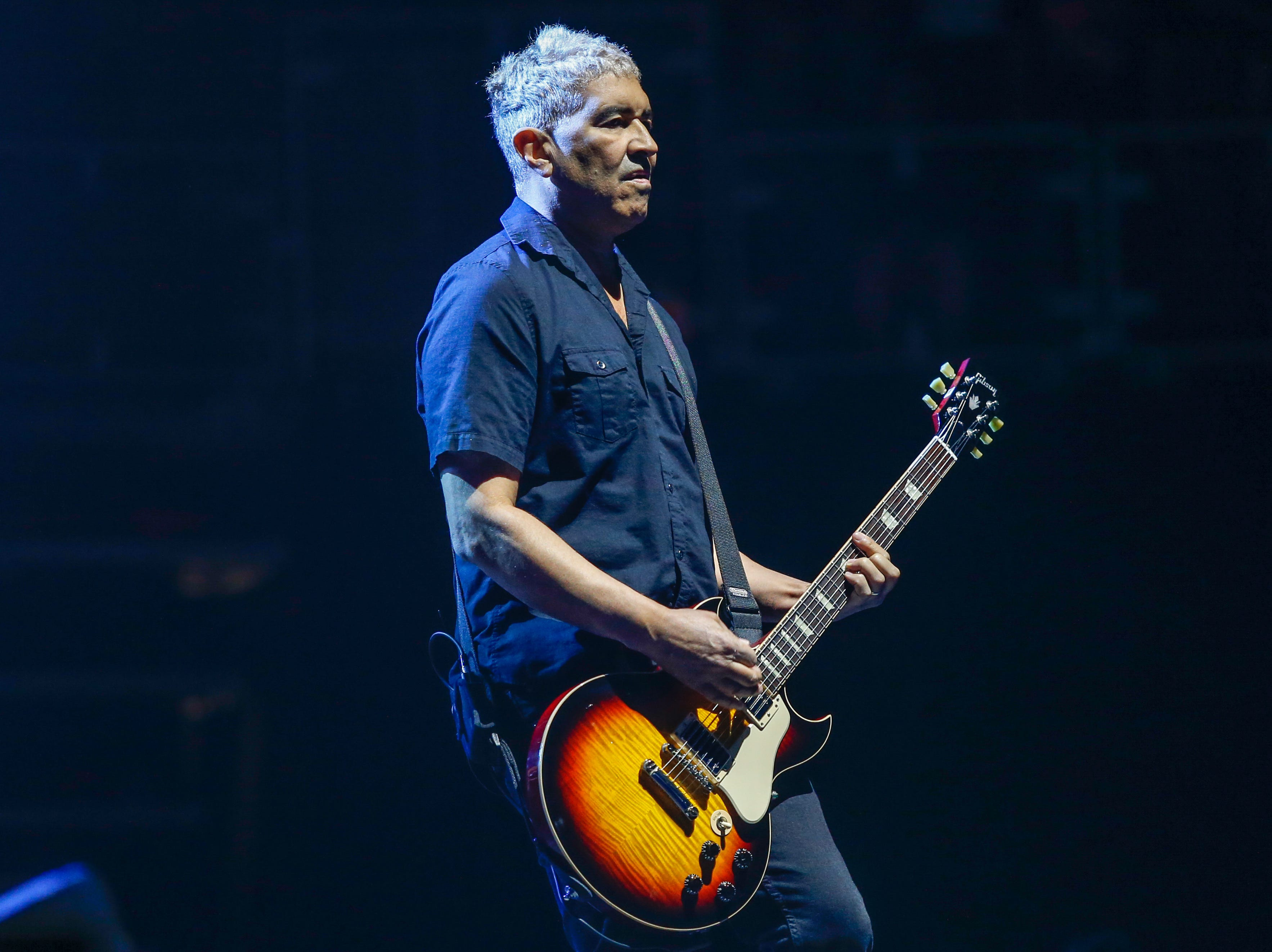 Pat Smear performs on rhythm guitar for the Foo Fighters at Monday night's show at Little Caesars Arena.