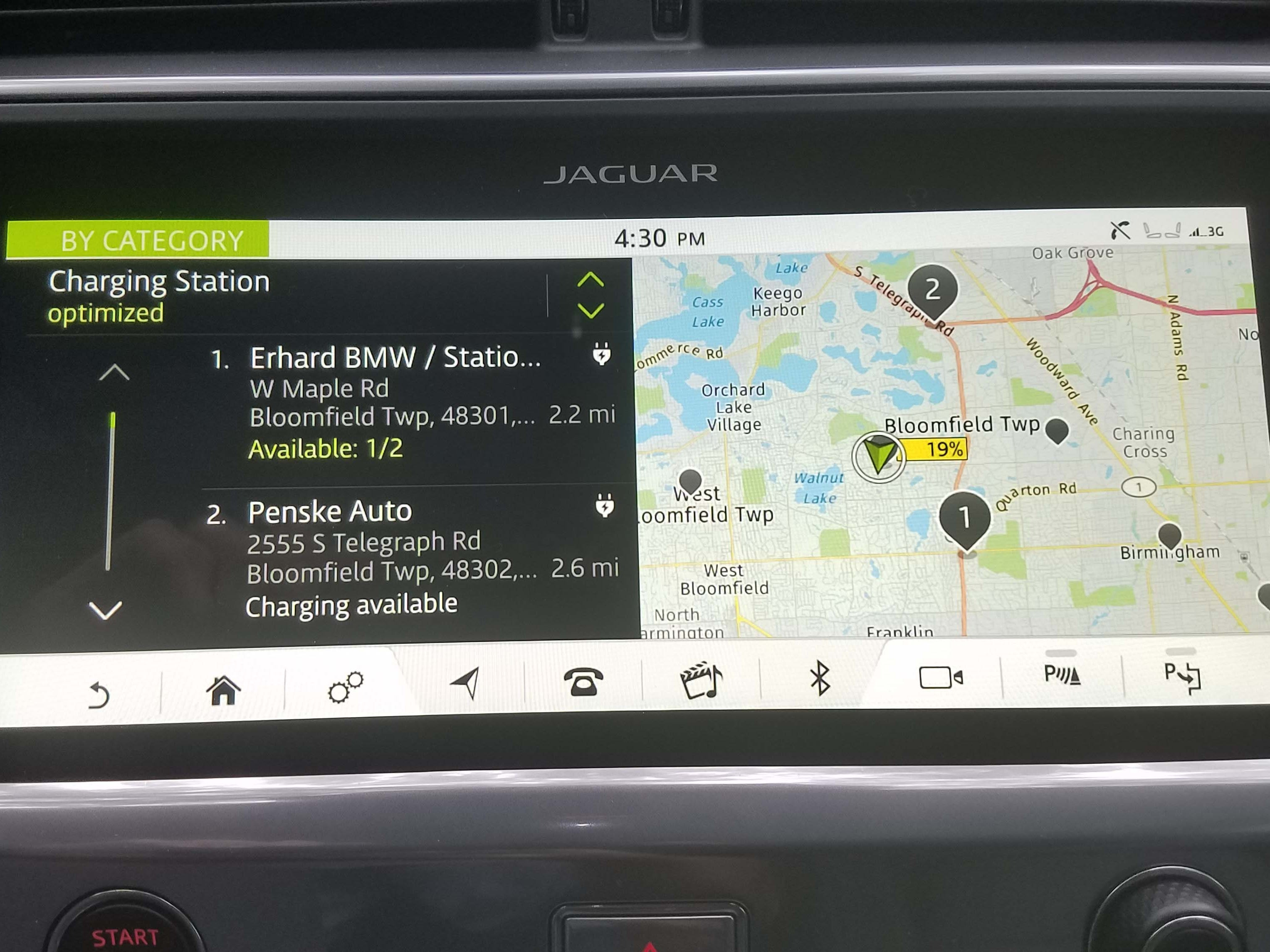 The Jaguar I-Pace nav system provides locations for chargers - but not all (like the BMW dealer that moved months ago) are there.