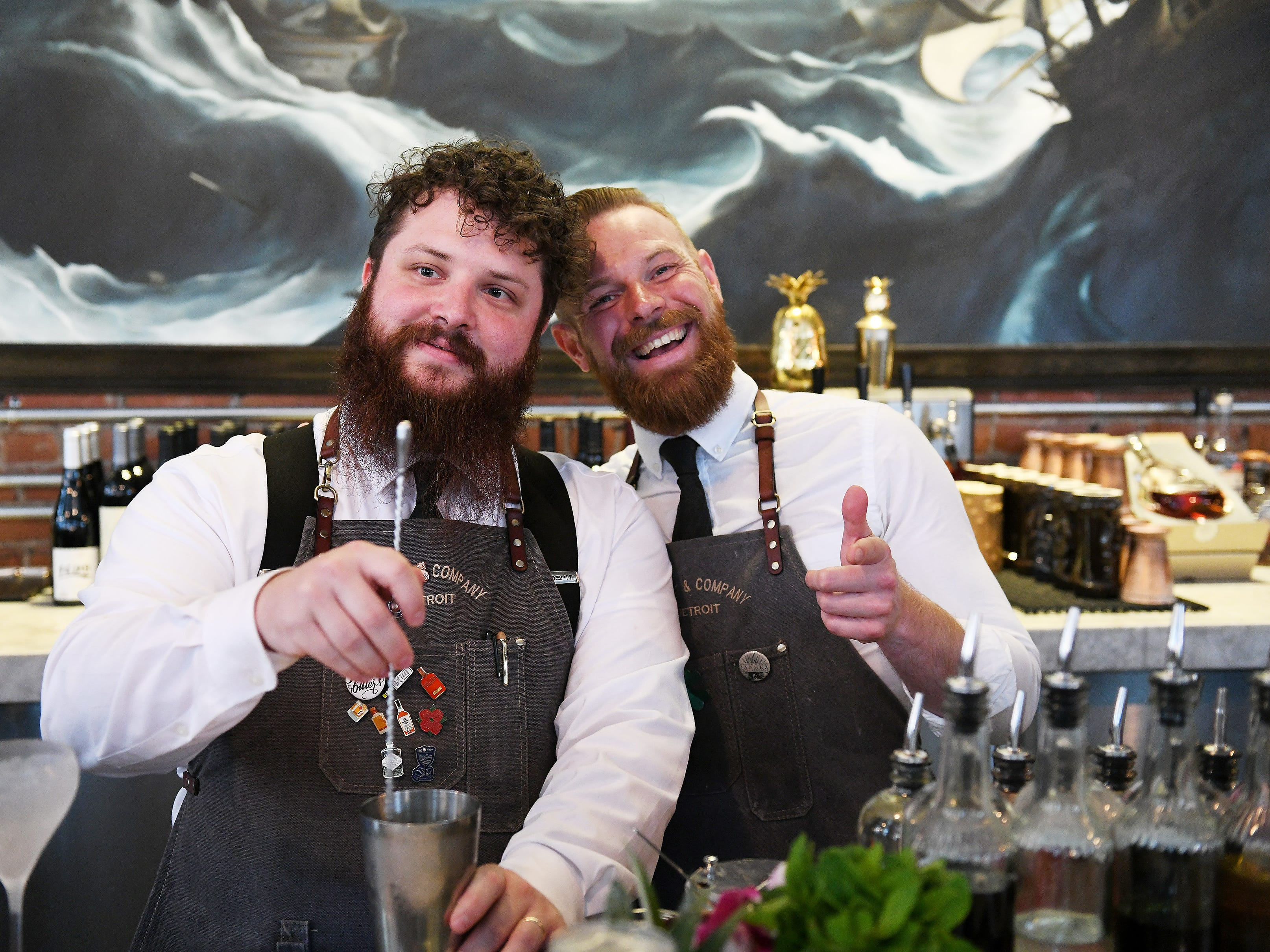 From left, Bartenders Chas Williams and Mark Cooney at Wright & Company.