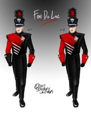 A sketch of the new uniform design that was chosen for Fond du Lac High School band members.