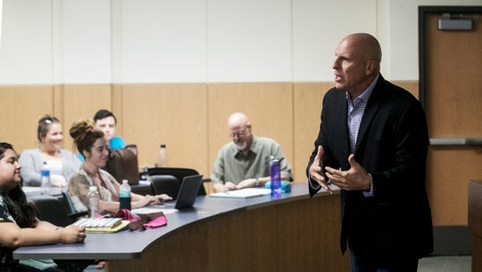 Former Lee County Sheriff Mike Scott speaks to a class at Florida Gulf Coast University called Weed: The impact of Marijuana on Monday 10/15/2018.