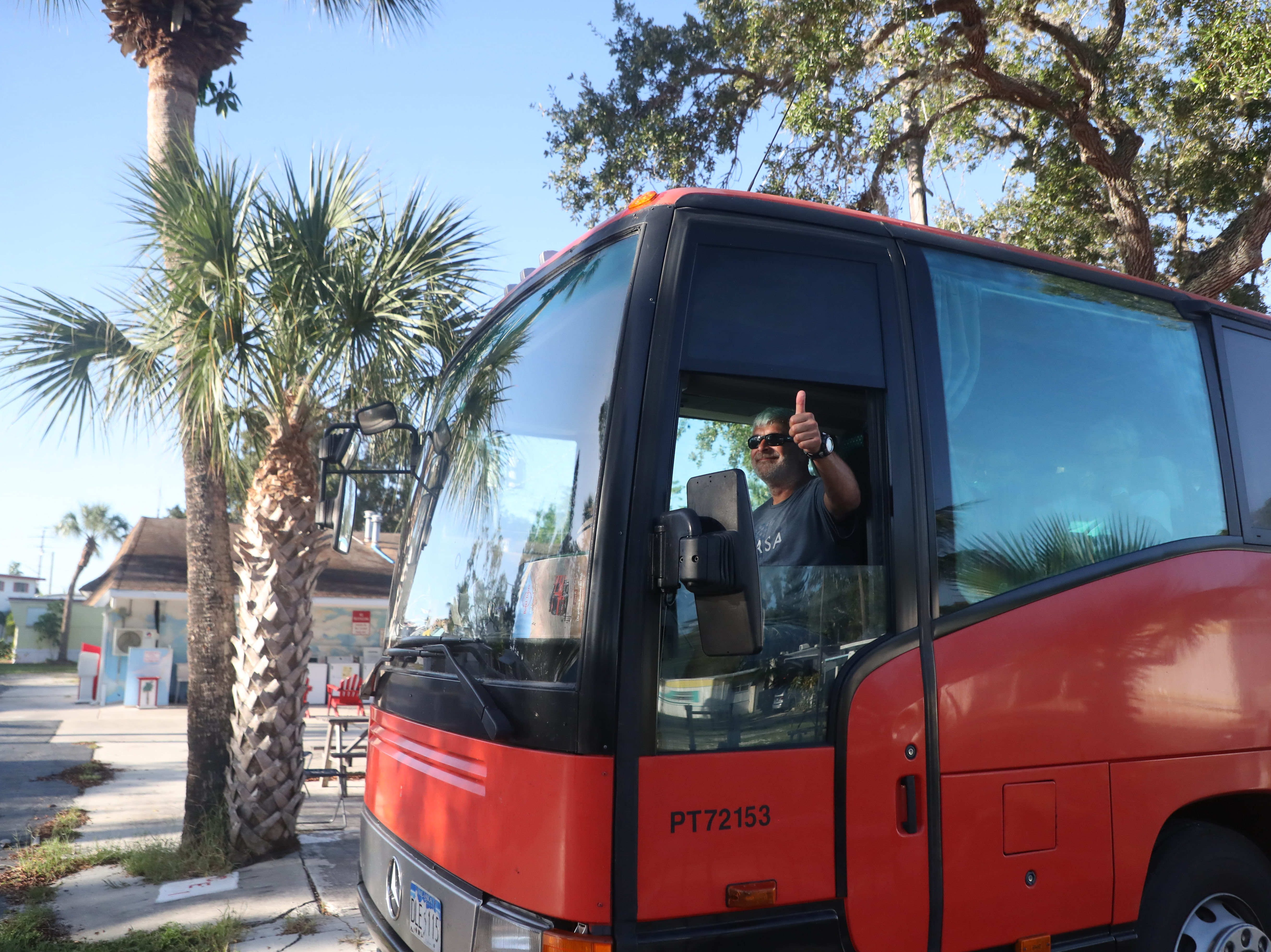 """A Rotel Tours bus rolled into the Red Coconut R.V. Resort full of tourists spending a couple of days enjoying Southwest Florida. The """"Rolling Hotel"""" company travels worldwide. Travelers sit in coach bus seats by day and sleep in small cabins that are stacked on top of each other by night."""