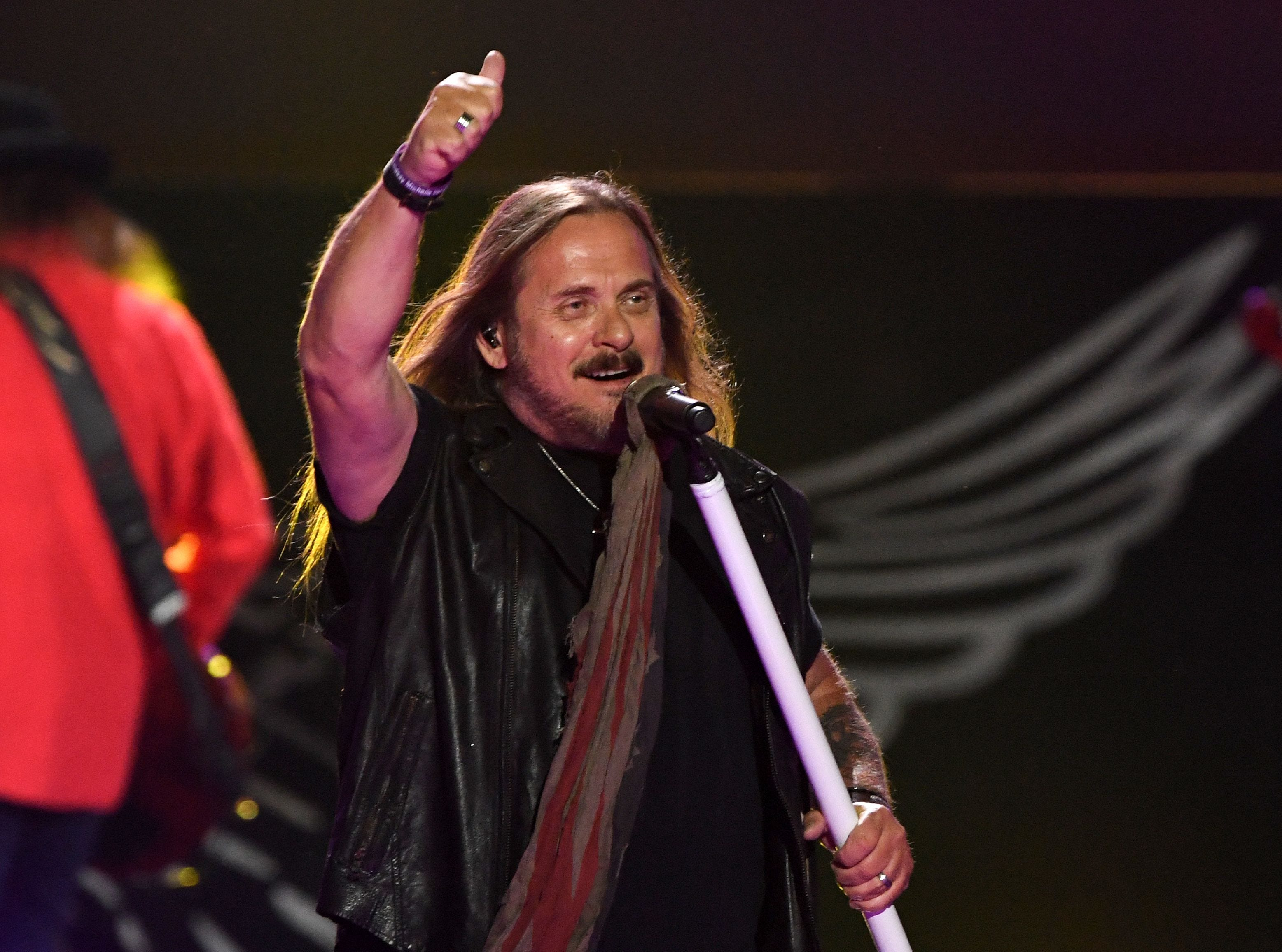 Johnny Van Zant of Lynyrd Skynyrd works the crowd during the iHeartRadio Music Festival in Las Vegas last month.