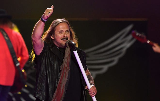 Johnny Van Zant of Lynyrd Skynyrd works the crowd during the iHeartRadio Music Festival in Las Vegas last month.
