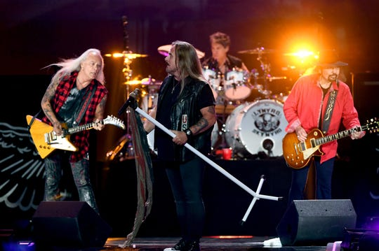 Lynyrd Skynyrd, featuring Rickey Medlocke, from left, Johnny Van Zant, Michael Cartellone and Gary Rossington, is on its Last of the Street Survivors Farewell Tour.