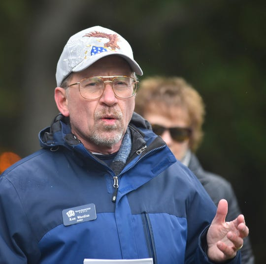 """Lighthouse expert Ken Wardius of Milwaukee was a guest speaker during the 150th anniversary of the Eagle Bluff Lighthouse on Monday, Oct. 15, 2018. Along with his wife Barb, they wrote the book """"Wisconsin Lighthouses.'' More photos at www.doorcountyadvocate.com. Tina M. Gohr/USA TODAY NETWORK-Wisconsin"""
