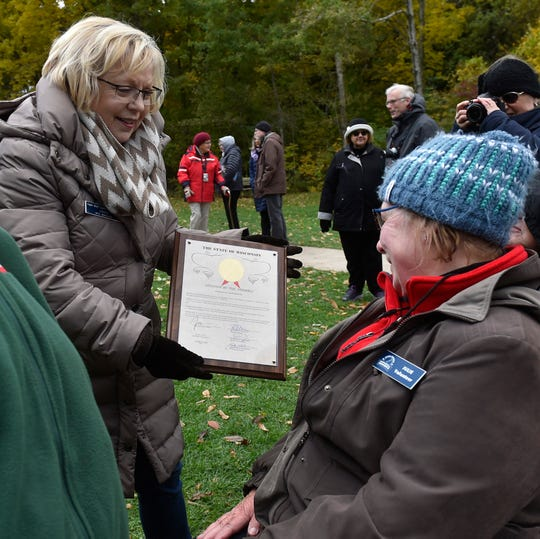 Eagle Bluff Lighthouse site manager Linda Faust displays the citation recognizing the lighthouse's 150th anniversary. Gov. Scott Walker commemorated Oct. 15, 2018, as the 150th anniversary of the Eagle Bluff Lighthouse. The proclamation was made during a ceremony by State Rep. Joel Kitchens. More photos at www.doorcountyadvocate.com.