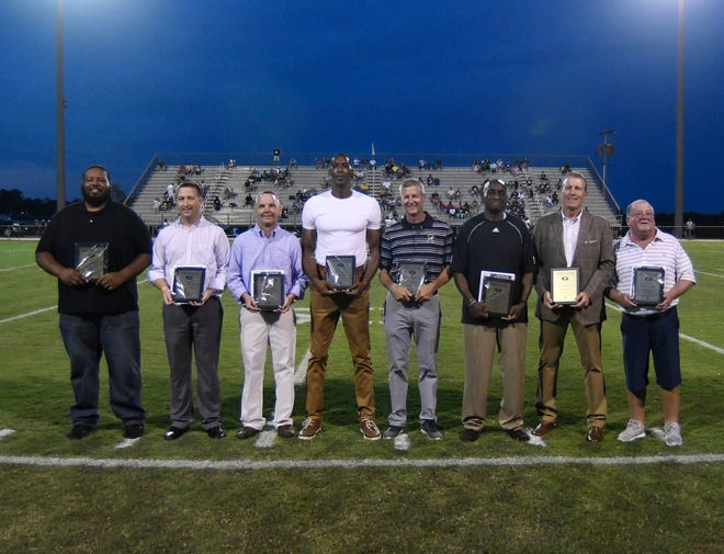 """The seven newest members of the Greer High School Athletic Hall of Fame are, from left, Ty Gregory, Brian """"Red"""" Watson, David Holtzclaw, Kris Bruton, Steven """"Worm"""" Gay, Anthony Jones, Ralph Polson and Mike Gravley."""