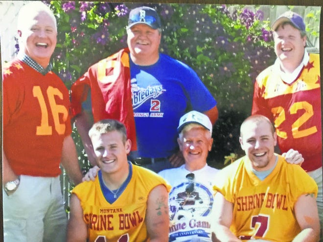Several members of the Bob Schulte family who played in the Montana East-West Shrine Game are pictured. Among them are, back row from left, brothers Mark, Joe and Steve. Their father, Bob, is pictured in front between grandsons Rob, left, and Ryan.