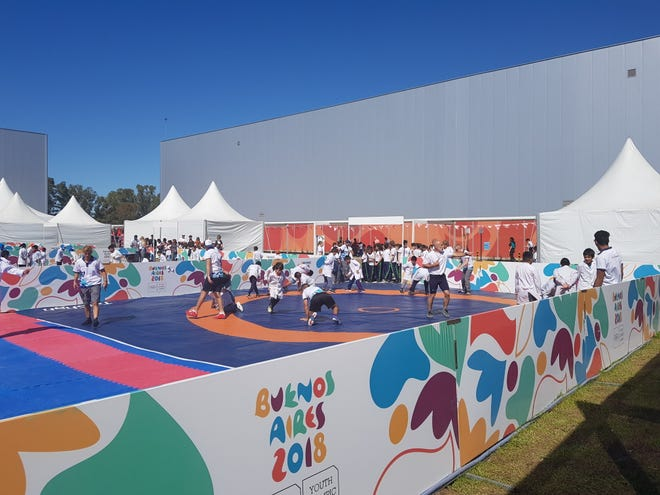 Kids learn martial arts at the Buenos Aires Youth Olympic Games on Oct. 10, 2018.