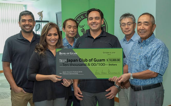Bank of Guam is a Platinum Sponsor for the 39th annual Japan Club of Guam's Akimatsuri. The event will be held November 17 at the Governor Joseph Flores Beach Park, Ypao. Pictured from left: David J. Arriola, VP/retail banking systems manager; Caroline H. Sablan, VP/relationship banking manager; Fumiaki Yoshino (JCOG) director of youth affairs; Joaquin L.G. Cook, interim president/CEO; Tadashi Gonda, (JCOG) vice chairman; Yuji Sekiguchi, (JCOG) chairman.