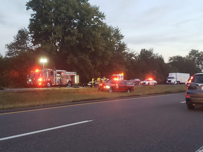 Emergency crews at the scene of fatal accident on Ind. 37 near Stones Crossing Road on Tuesday.