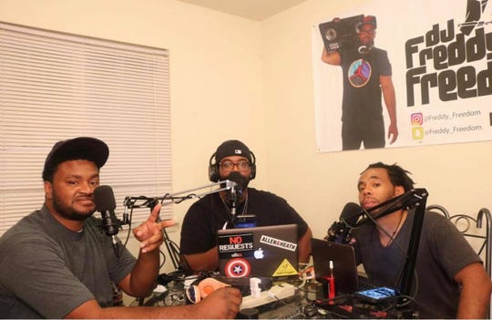 "Something About The Culture podcast hosts, from left: Randall ""Benjammin"" Benjamin, Fred ""DJ Freedom"" Thomas and  Chris ""Danny Anthem"" Graves."