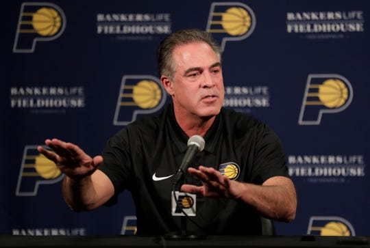 Indiana Pacers president of basketball operations Kevin Pritchard speaks during a press conference discussing the NBA basketball team's season.