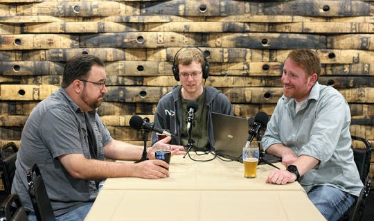 From left, thespeakpodcast hosts Rob Sheehan, Adam Fultz and Pete Senefeld.