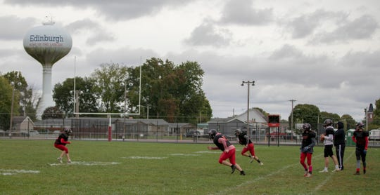 Practice on a recent afternoon that saw 21 kids suit up for practice at Edinburgh High School football practice, October 15, 2018. The team, winless on the year, has struggled as many small schools do, to find enough kids to field a team in the smallest Indiana division.
