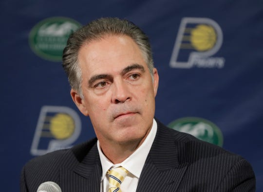 Indiana Pacers general manager Kevin Pritchard listens to a question during a news conference.