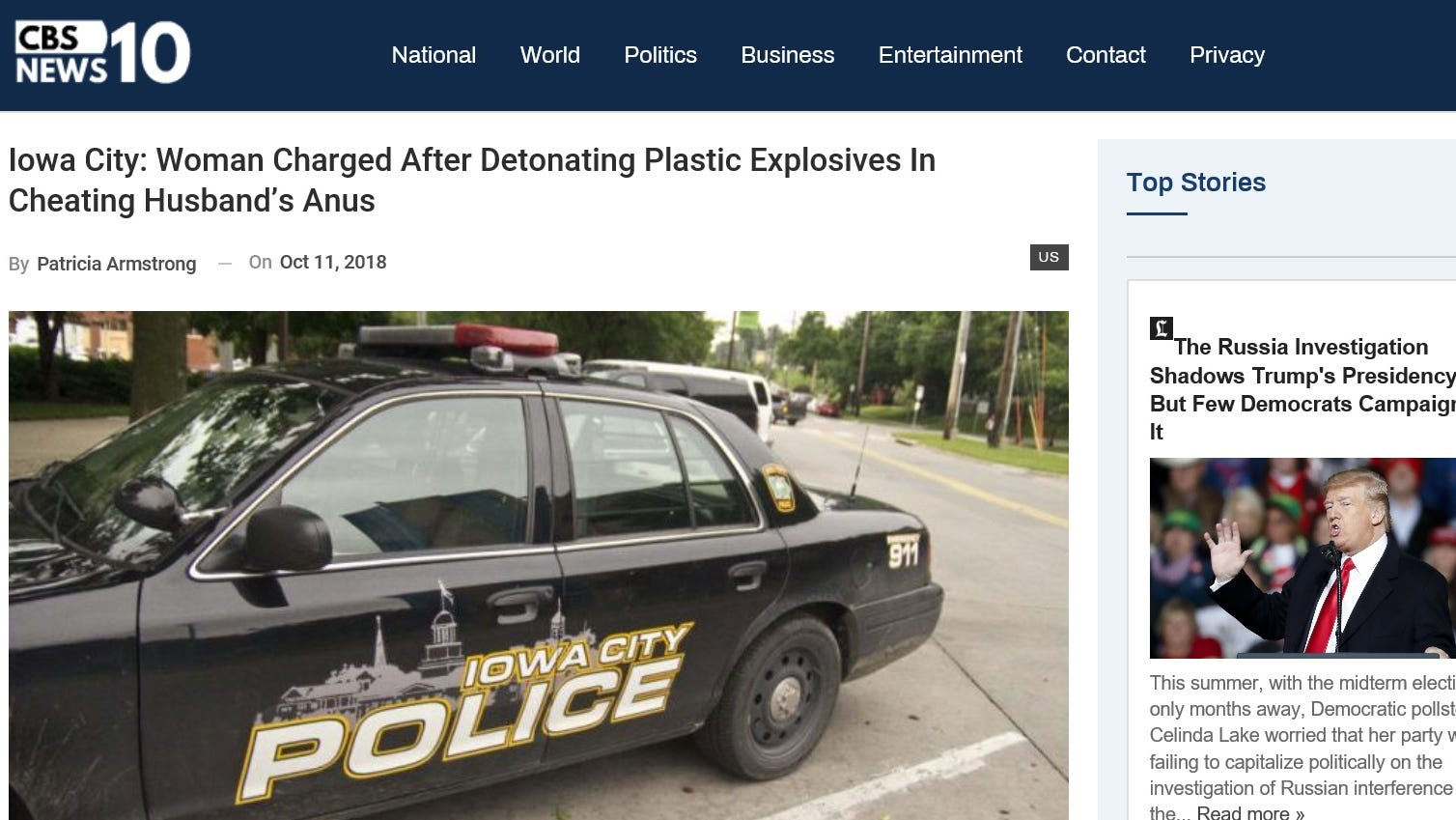 Story debunked on Iowa City wife killing cheating husband with explosives