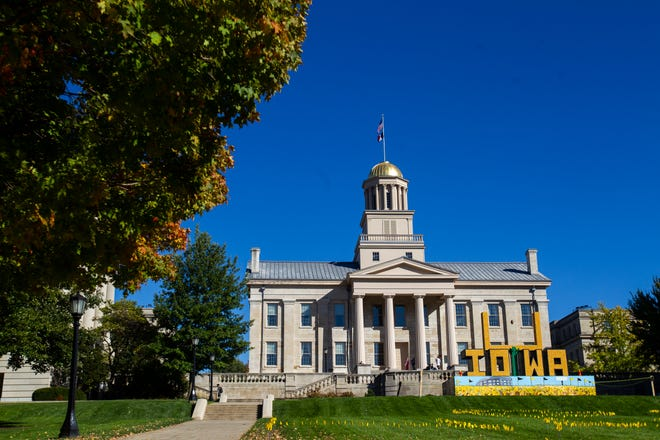 A corn monument is seen during homecoming week at the University of Iowa on Tuesday, Oct. 16, 2018, on the west side of the Pentacrest behind the Old Capitol building in Iowa City, Iowa.