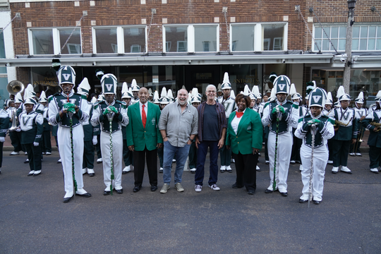 The Magical Mississippi Tour was greeted at the Alluvian Hotel in Greenwood the 130-piece Mississippi Valley State University marching band.