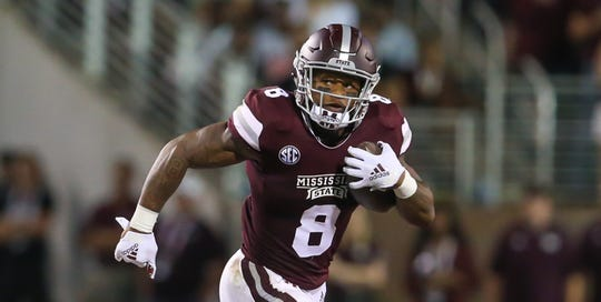 Mississippi State's Kylin Hill (8) averages 6.8 yards per carry but only rushed the ball eight times in a 19-3 loss to LSU. Photo by Keith Warren/Madatory Photo Credit