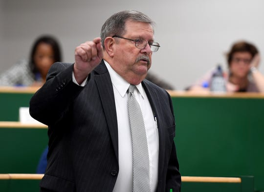 Madison County Commissioner Harold Petty gives discussion during a vote pertaining to the expansion of the Madison County Jail, during a commission meeting, Monday, October 15.