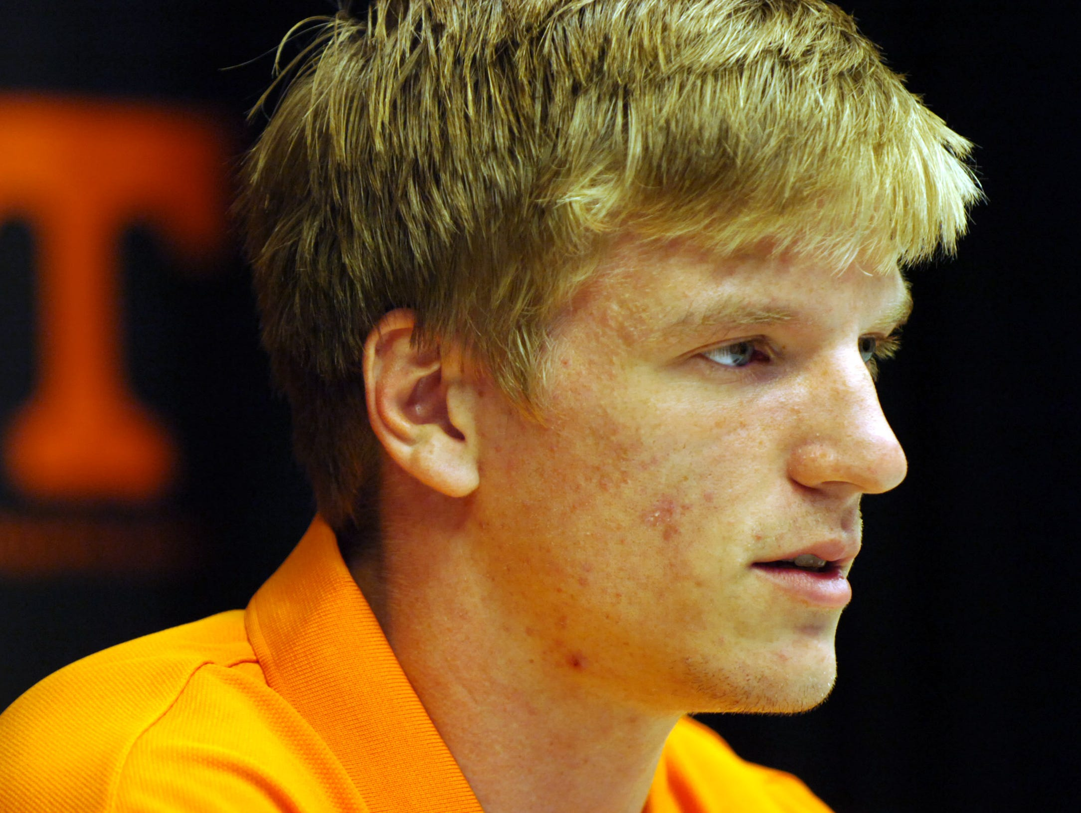 Junior quarterback Matt Simms speaks to the media during a press conference at the Stokely Family Media Center inside Neyland Stadium on Tuesday, Aug. 3, 2010. The Volunteers have their first fall practice under head coach Derek Dooley at Haslam Field on Wednesday.