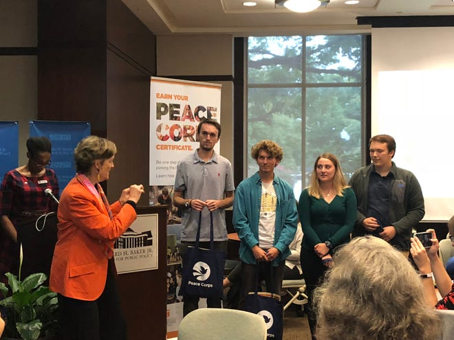 Peace Corps Director Jody Olsen, left, speaks to the four students who have signed up for Peace Corps Prep at UT. The students, Tanner Rives, Mason Cordan, Karlie Jeffers and Adam Klibisz, will complete the program over the next one to four years before applying for the Peace Corps.