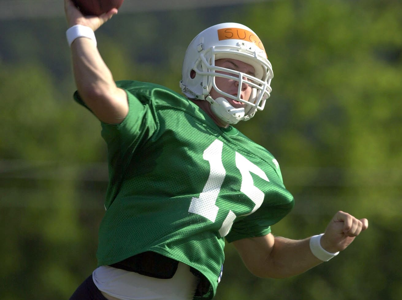University of Tennessee quarterback A.J. Suggs throws a pass during practice on Monday, Aug. 14, 2000 at Hudson Field.