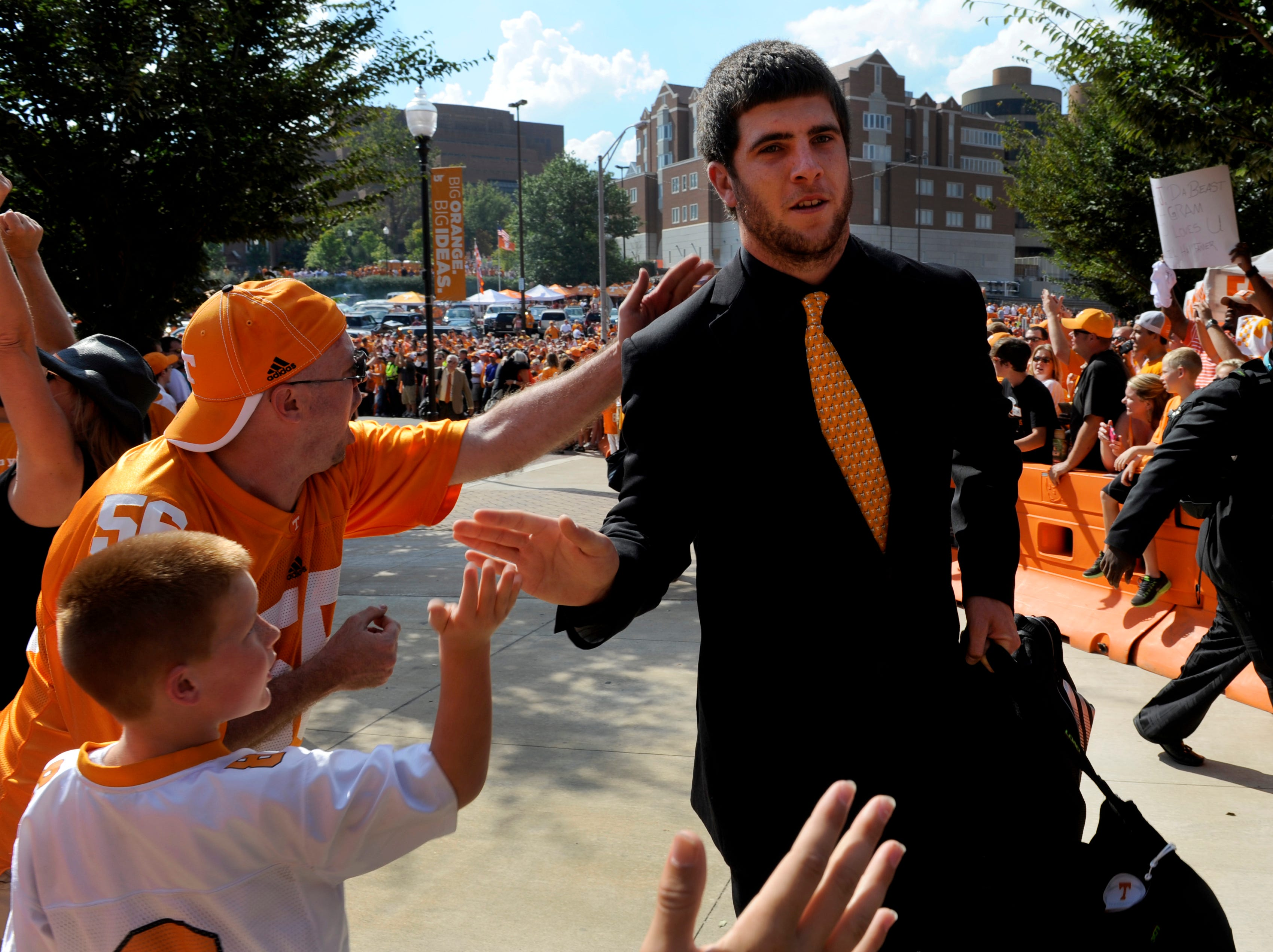 Tennessee quarterback Tyler Bray during the Vol Walk before their game against Florida Saturday, Sep. 15, 2012 outside Neyland Stadium in Knoxville.