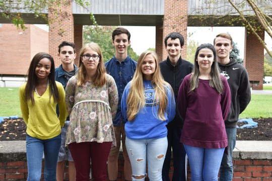 Gibbs High Eagles of the Month for October are (front) Lilyan Carter, Madison Livingston, Payton Satterfield, Calista Ridley; (back) Donnovan Willets, Colby Tate, Billy Carter and Austin Cooper.
