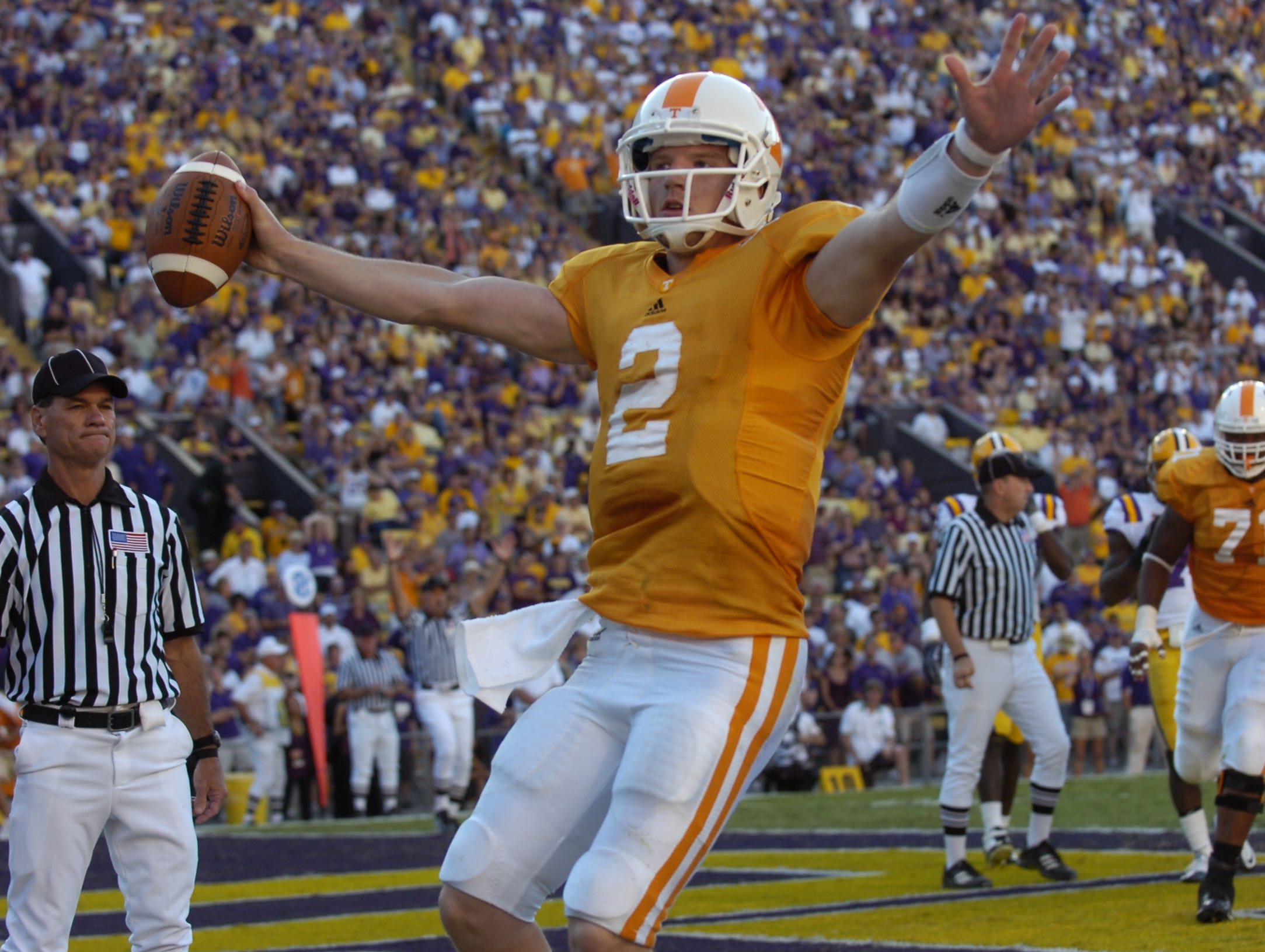 Tennesse quarterback Matt Simms scores a touchdown against LSU at Tiger Stadium in Baton Rouge, La. on Saturday, Oct. 2, 2010. UT lost the game 16-14 after a defensive penalty in the final play of the game.