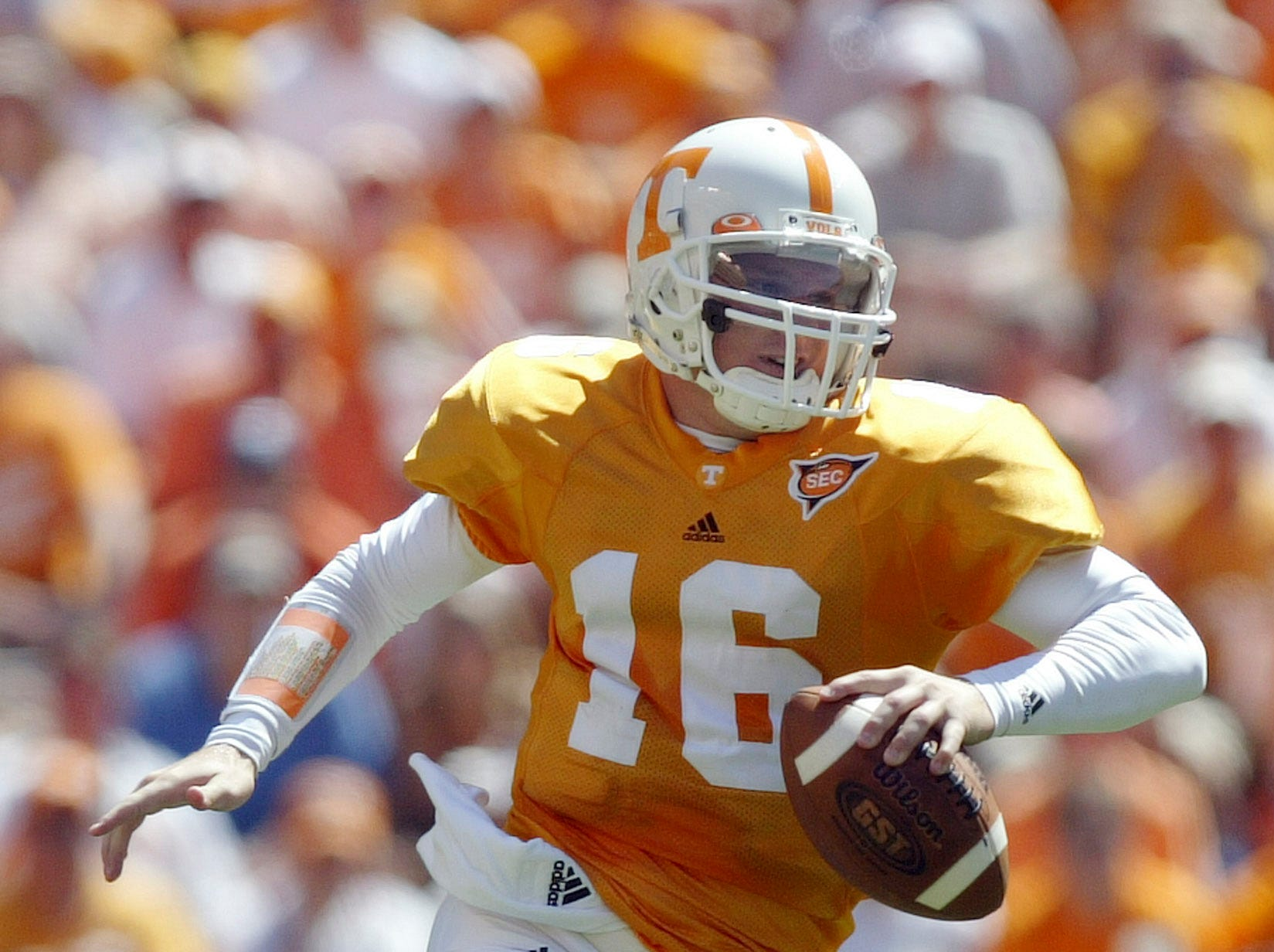 Tennessee quarterback Rick Clausen scrambles out of the pocket against UAB on Saturday at Neyland Stadium on Sept. 3, 2005.