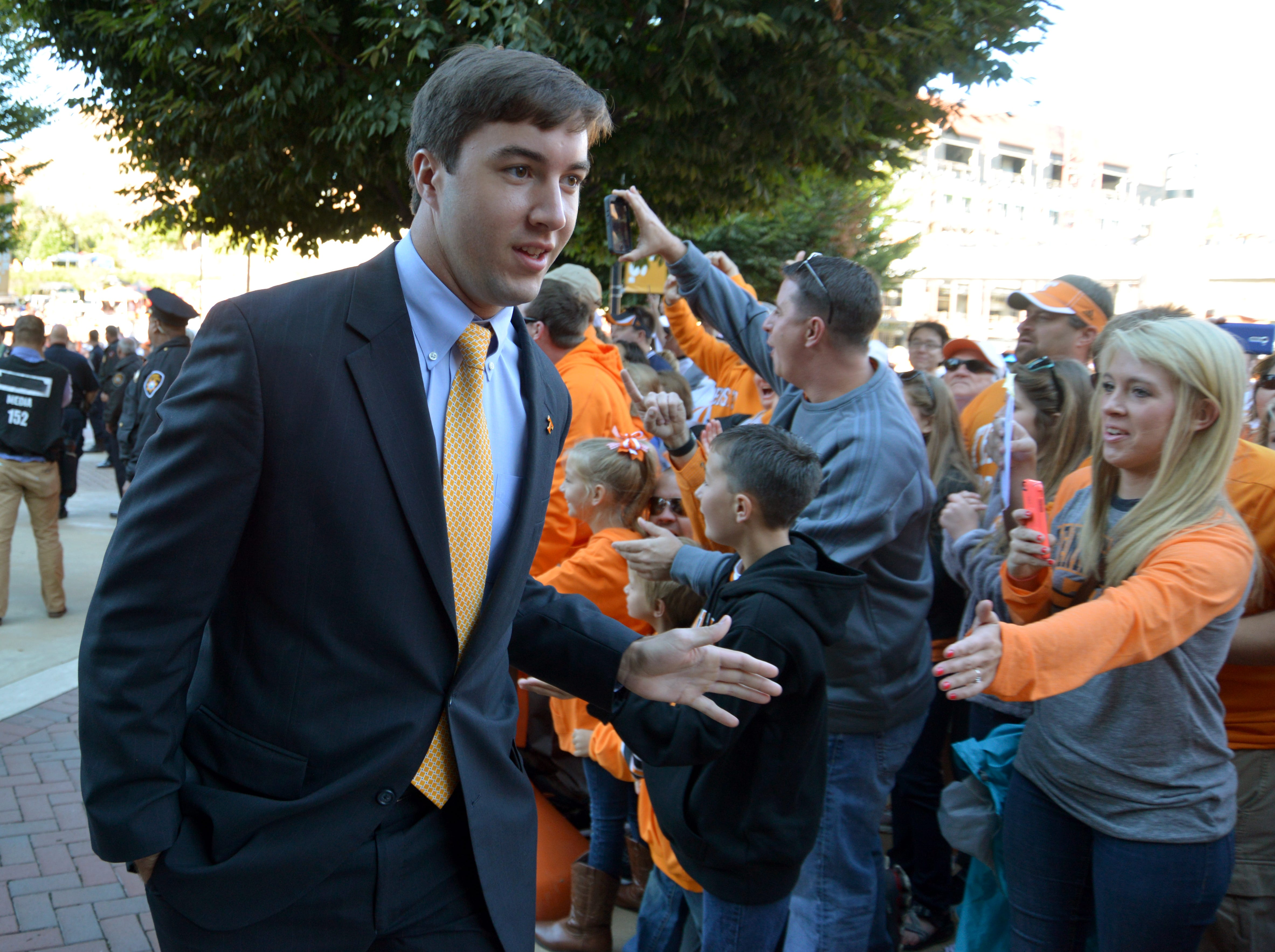 Tennessee quarterback Justin Worley (14) during the Vol Walk before their game against Florida in Neyland Stadium, Saturday, Oct. 4, 2014 in Knoxville, Tenn.
