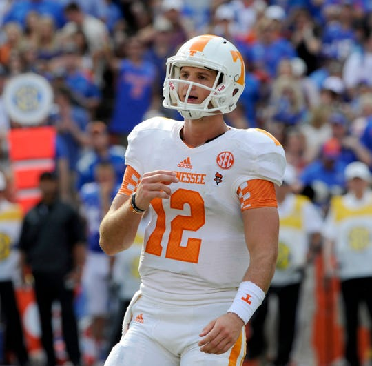 Tennessee quarterback Nathan Peterman (12) during the first half against Florida Saturday, Sep. 21, 2013 at Ben Hill Griffin Stadium in Gainesville, Fla.