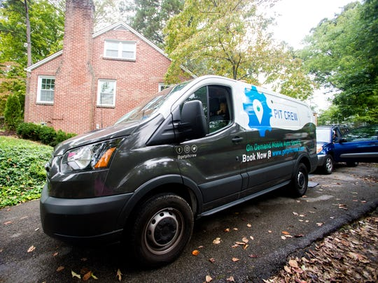 Pit Crew's van sits in the driveway of a customer's house in Knoxville on Tuesday, October 16, 2018. Pit Crew is an on demand mobile auto service that can perform oil changes, tire rotations and wiper blade replacements wherever is most convenient to the customer.