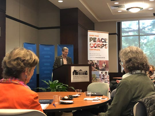 Adam Willcox, the Peace Corps Prep Coordinator at the University of Tennessee, speaks to students and Peace Corps volunteers. The Peace Corps Prep program will help UT students prepare for service in the Peace Corps.