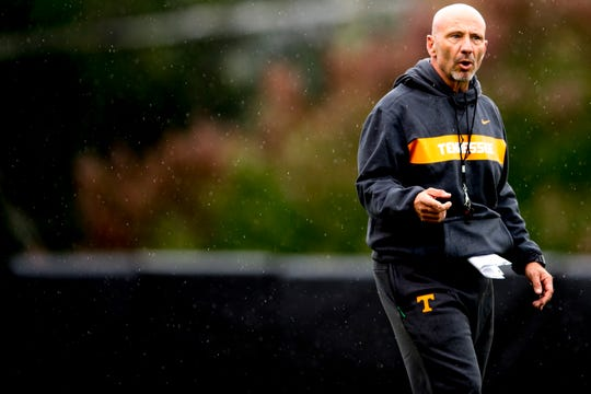 Tennessee special teams and safeties coach Charles Kelly during Tennessee fall football practice at Haslam Field in Knoxville, Tennessee on Tuesday, October 16, 2018.
