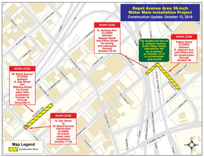 The intersection between W. Depot Ave. and N. Gay St. will be closed between Oct. 17 to Oct. 26 for a water main installation project.