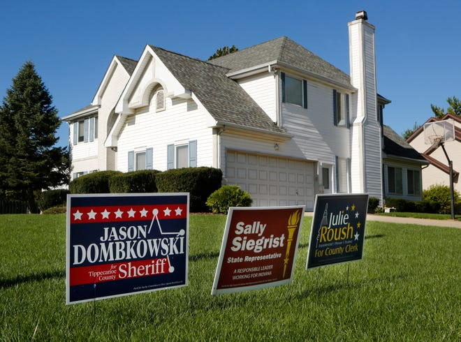 Campaign signs for Republican candidates Jason Dombkowksi for Tippecanoe County Sheriff, Sally Siegrist for State Representatives, and Julie Roush for County Clerk in the front yard of Superior Court 6 Judge Michael Morissey's home Tuesday, October 16, 2018, in University Farm subdivision in West Lafayette. Democrat candidate for County Clerk Vicky Woeste says that since Morrisey is a judge, he shouldn't be placing campaign signs in his yard.