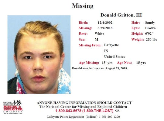 Lafayette police are looking for 15-year-old runaway Donald Gritton III. If you've seen him, call Lafayette police at 765-807-1200.