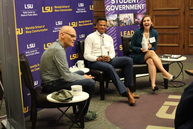 Political Strategist and LSU professor James Carville discussed the issues surrounding millennials' decision to stay or leave Louisiana with LSU student government president Stewart Lockett, and Re-Envisioning Louisiana symposium organizer Sarah Procopio.