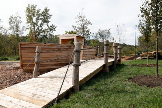 A canal boat play area is part of AHA! A Hands-On Adventure, A Children's Museum's new outdoor education and play area.