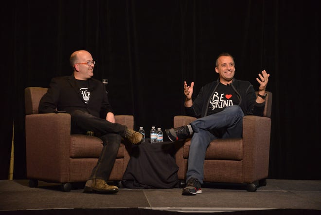 """Co-star of TV show """"Impractical Jokers"""" Joe Gatto, seen speaking at last year's """"The Hero Round Table,"""" Oct. 15, 2017, will headline the first day of this year's two-day forum, Oct. 22-23, in Howell."""
