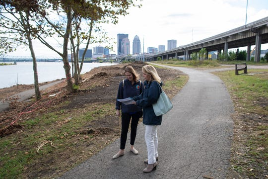 Courier Journal reporter Maggie Menderski gets a tour of the Phase Four section of Waterfront Park with Develop Louisville director Deborah Bilitzki. Oct. 11, 2018