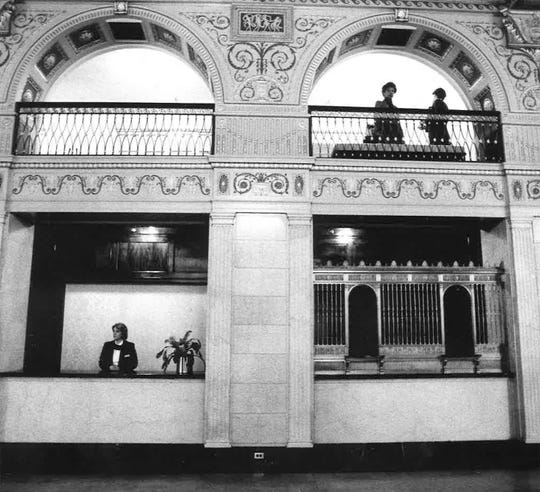 The lobby of the Brown Hotel as seen in December of 1984, has been largely unchanged since the hotel's opening in 1923.