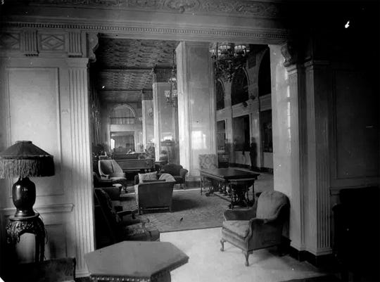 The Brown Hotel lobby from October 26, 1923.