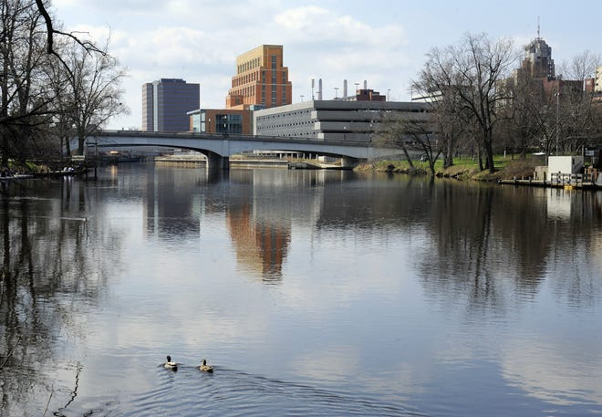 A view of the AF Group headquarters in downtown Lansing on the Grand River.